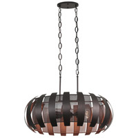 Varaluz 287N06CO Sawyers Bar 6 Light 30 inch Two-Tone Copper Ore Linear Pendant Ceiling Light