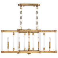 Halcyon 6 Light 34 inch Antiqued Gold Leaf Linear Pendant Ceiling Light