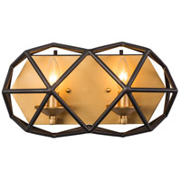 Geo 2 Light 15 inch Antique Gold with Rustic Bronze Bath Vanity Wall Light