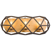 Geo 3 Light 21 inch Antique Gold with Rustic Bronze Bath Vanity Wall Light