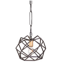 Geo 1 Light 12 inch Antique Gold with Rustic Bronze Pendant Ceiling Light