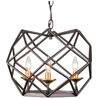 Geo 3 Light 18 inch Antique Gold with Rustic Bronze Pendant Ceiling Light