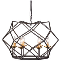Geo 6 Light 24 inch Antique Gold with Rustic Bronze Pendant Ceiling Light