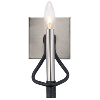 Varaluz 307B01 To Circuit With Love 1 Light 5 inch Textured Black and Brushed Nickel Bath Vanity Wall Light