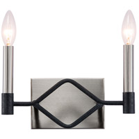 Varaluz 307B02 To Circuit With Love 2 Light 11 inch Textured Black and Brushed Nickel Bath Vanity Wall Light