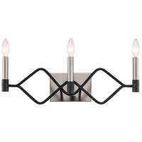 Varaluz 307B03 To Circuit With Love 3 Light 9 inch Textured Black and Brushed Nickel Bath Vanity Wall Light