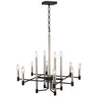 Varaluz 307C12 To Circuit with Love 12 Light 30 inch Textured Black and Brushed Nickel Chandelier Ceiling Light