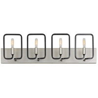 Rectangulo 4 Light 29 inch Silverado and Carbon Bath Vanity Wall Light