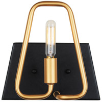 Varaluz 318B01AGCB Triangulo 1 Light 8 inch Aged Gold and Carbon Bath Vanity Wall Light