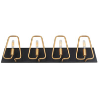 Varaluz 318B04AGCB Triangulo 4 Light 29 inch Aged Gold and Carbon Bath Vanity Wall Light