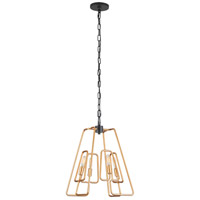 Varaluz 318P04AGCB Triangulo 4 Light 13 inch Aged Gold and Carbon Pendant Ceiling Light