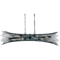 Varaluz 320N08CBAG Rikki 8 Light 48 inch Carbon and Aged Gold Linear Pendant Ceiling Light
