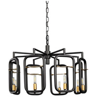 Varaluz 327C08AGRB Bar None 8 Light 24 inch Aged Gold and Rustic Bronze Chandelier Ceiling Light