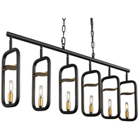 Varaluz 327N06AGRB Bar None 6 Light 42 inch Aged Gold and Rustic Bronze Linear Pendant Ceiling Light