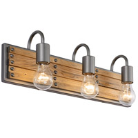 Ella Jane 3 Light 21 inch New Bronze and Honey Wood Bath Vanity Light Wall Light