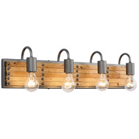 Ella Jane 4 Light 28 inch New Bronze and Honey Wood Bath Vanity Light Wall Light