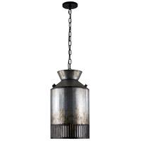 Varaluz 335P01OG Hickory Lane 1 Light 12 inch Ombre Galvanized and Black Mini Pendant Ceiling Light