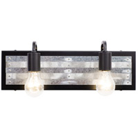 Abbey Rose 2 Light 17 inch Black and Galvanized Bath Vanity Light Wall Light
