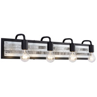 Abbey Rose 4 Light 34 inch Black and Galvanized Bath Vanity Light Wall Light