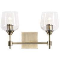 Margaux 2 Light 16 inch Antique Brass and Clear Bath Vanity Light Wall Light