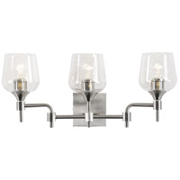 Margaux 3 Light 24 inch Satin Nickel and Clear Bath Vanity Light Wall Light