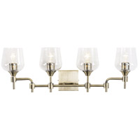 Margaux 4 Light 30 inch Antique Brass and Clear Bath Vanity Light Wall Light