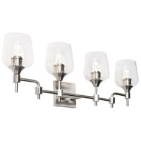 Margaux 4 Light 30 inch Satin Nickel and Clear Bath Vanity Light Wall Light