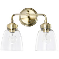 Helena 2 Light 14 inch Antique Brass and Clear Bath Vanity Light Wall Light