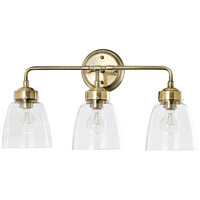 Varaluz 341B03AB Helena 3 Light 22 inch Antique Brass and Clear Bath Vanity Light Wall Light