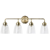 Helena 4 Light 31 inch Antique Brass and Clear Bath Vanity Light Wall Light