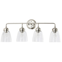 Helena 4 Light 31 inch Satin Nickel and Clear Bath Vanity Light Wall Light