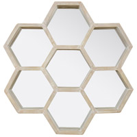 Honeycomb 28 X 27 inch Gray with Light Whitewash Wall Mirror Home Decor, Varaluz Casa