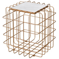 Grid 20 X 18 inch Gold and White End Table, Varaluz Casa