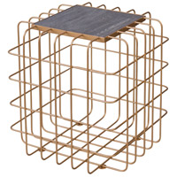 Signature 18 X 18 inch Gold End Table Home Decor in Gold with Zebrawood, Varaluz Casa