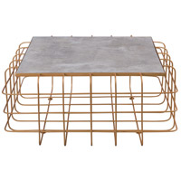 Signature 36 X 36 inch Gold Coffee Table Home Decor in Gold with Concrete, Varaluz Casa