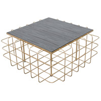 Signature 36 X 36 inch Gold Coffee Table Home Decor in Gold with Zebrawood, Varaluz Casa