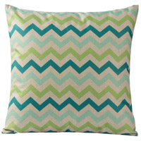 Chevron 18 X 0 inch Blue and Green Throw Pillow Case, Varaluz Casa
