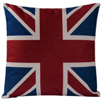 Union Jack 18 X 0 inch Red and White and Blue with Beige Throw Pillow Case, Varaluz Casa
