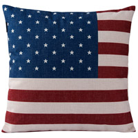 American Flag 18 X 0 inch Red and White and Blue with Beige Throw Pillow Case, Varaluz Casa