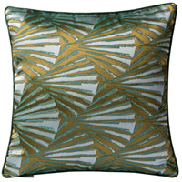 Deco Fan 18 X 0 inch Green and Gold with White Throw Pillow Case, Varaluz Casa