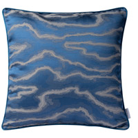 Blue and Silver Fluid 18 X 0 inch Blue and Silver Throw Pillow Case, Varaluz Casa