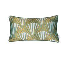 Deco Fan 20 X 0 inch Green and Gold with White Lumbar Pillow Case, Varaluz Casa