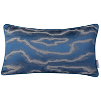 Blue and Silver Fluid 20 X 0 inch Blue and Silver Lumbar Pillow Case, Varaluz Casa