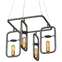 Varaluz 612510 Loophole 4 Light 26 inch Rustic Bronze and Gold Pendant Ceiling Light