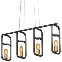 Varaluz 612530 Loophole 4 Light 32 inch Rustic Bronze and Gold Linear Pendant Ceiling Light