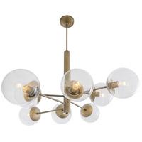 Varaluz 612730 Mid-century 8 Light 39 inch Antique Brass Chandelier Ceiling Light