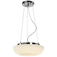 Swirled 2 Light 12 inch Chrome Pendant Ceiling Light, White Opal Glass