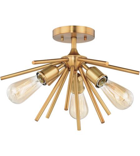 Vaxcel C0164 Estelle 3 Light 17 Inch Natural Brass Semi Flush Mount Ceiling Light