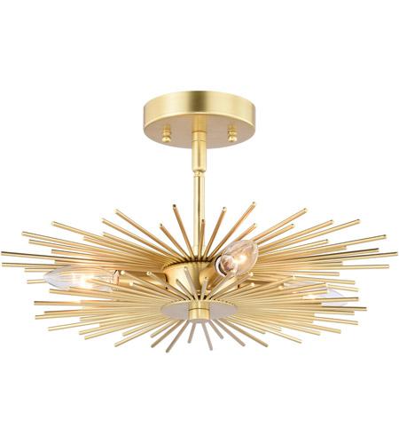 Vaxcel C0227 Nikko 4 Light 16 Inch Gold Semi Flush Mount Ceiling Light