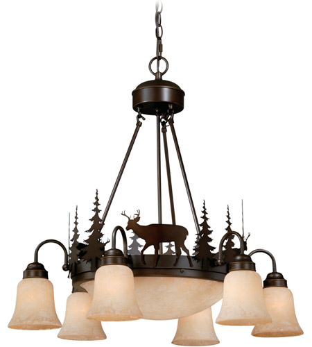 Vaxcel Burnished Bronze Steel Chandeliers